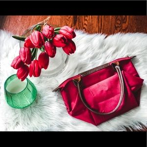 Longchamp Mini Le Pliage Nylon Leather Red Tote